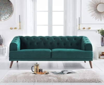 Mark Harris Destiny Green Velvet 3 Seater Sofa