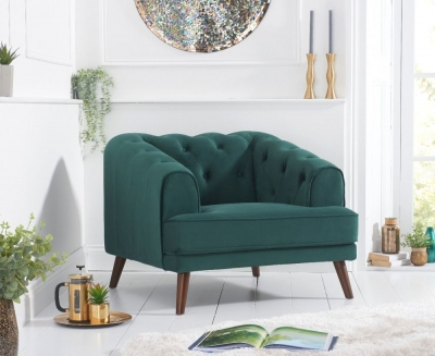 Mark Harris Destiny Green Velvet Armchair