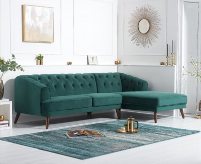 Mark Harris Destiny Green Velvet Right Hand Facing Corner Sofa