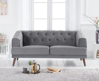 Mark Harris Destiny Grey Velvet 2 Seater Sofa