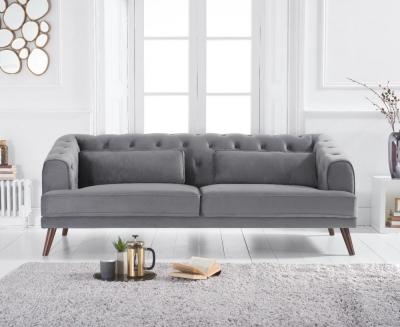 Mark Harris Destiny Grey Velvet 3 Seater Sofa