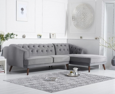 Mark Harris Destiny Grey Velvet Right Hand Facing Corner Sofa