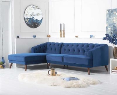 Mark Harris Destiny Blue Velvet Left Hand Facing Corner Sofa
