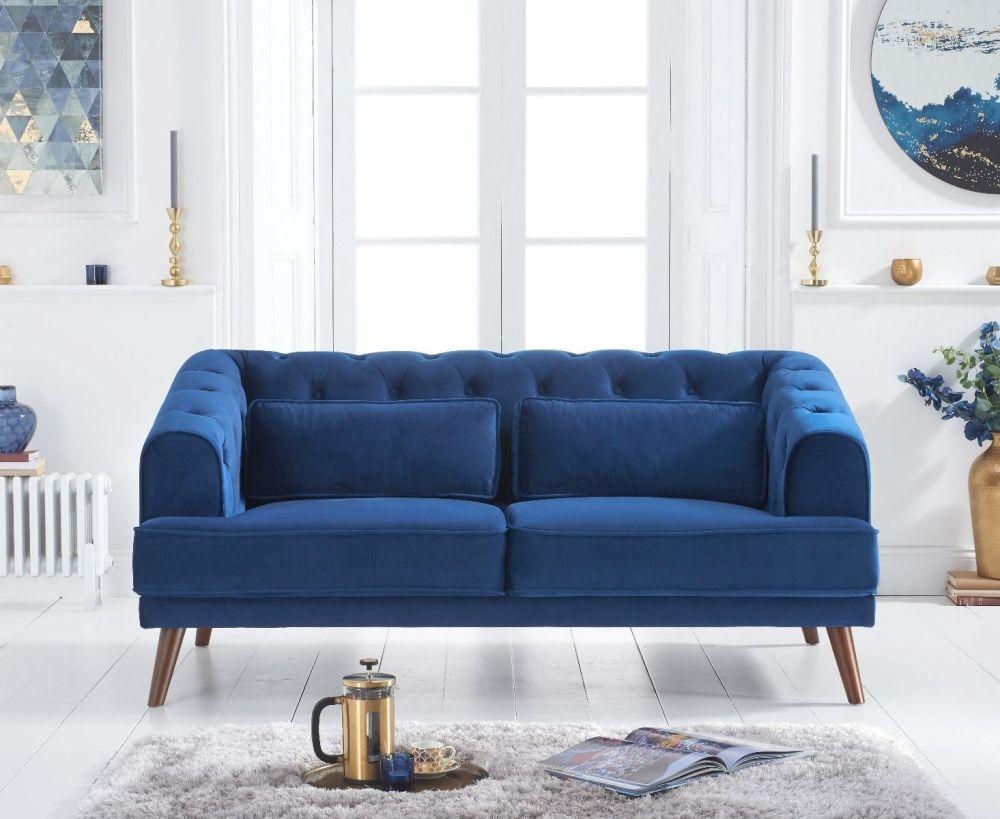 Mark Harris Destiny Blue Velvet 2 Seater Sofa