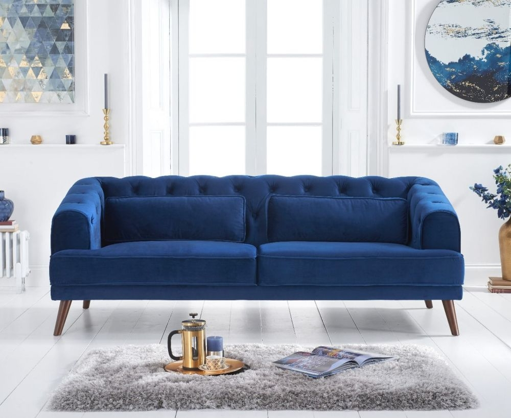 Mark Harris Destiny Blue Velvet 3 Seater Sofa