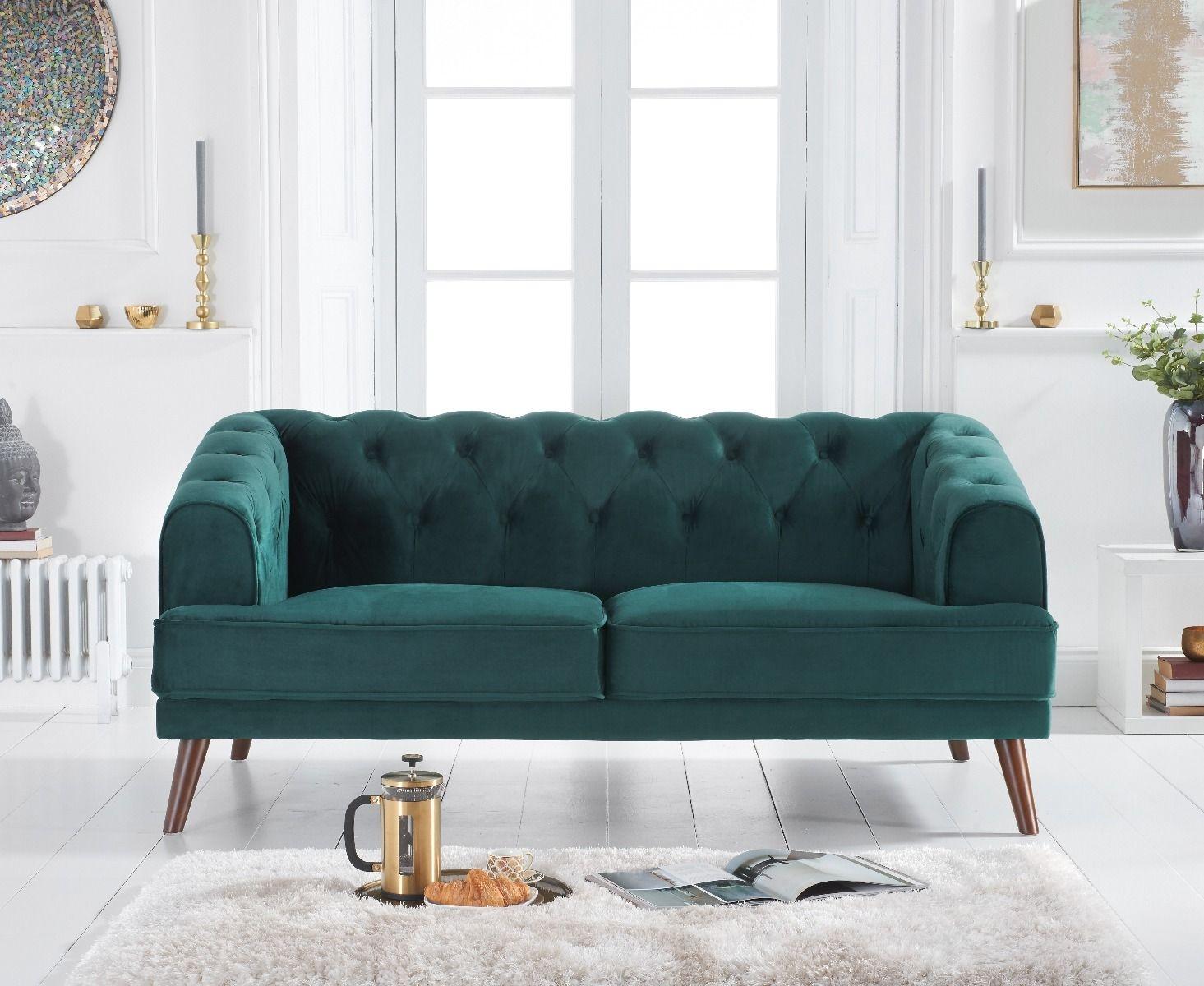 Mark Harris Destiny Green Velvet 2 Seater Sofa