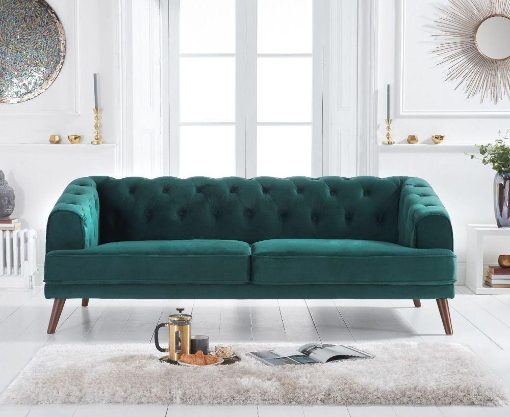 Mark Harris Destiny Green Velvet 3 Seater Sofa