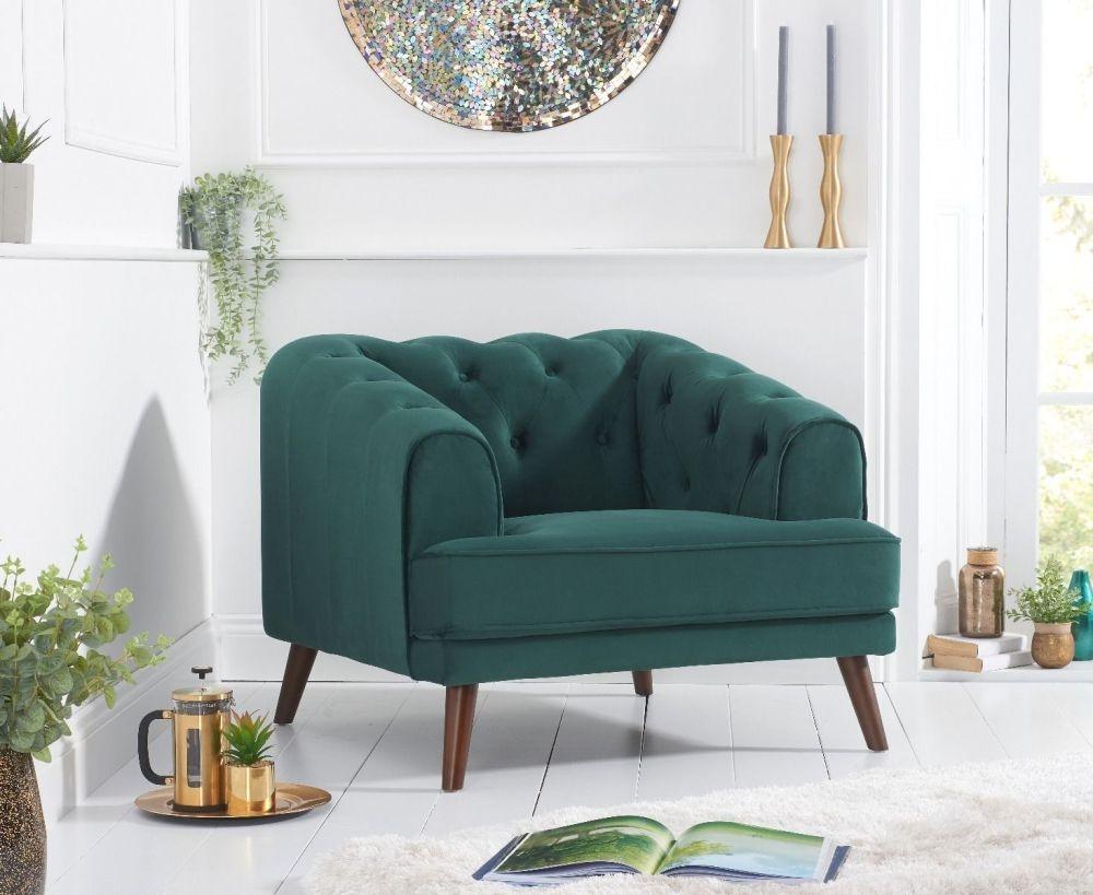 Mark Harris Destiny Green Velvet Armchair