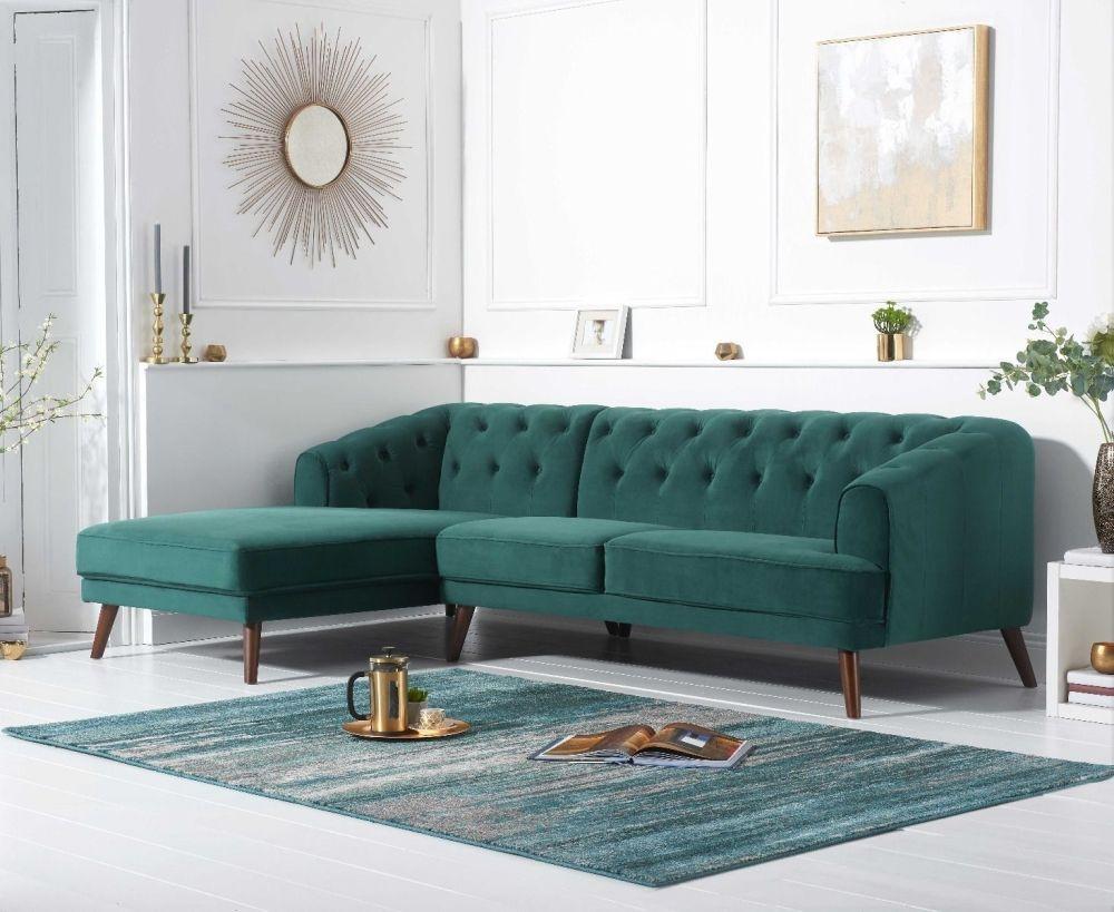 Mark Harris Destiny Green Velvet Left Hand Facing Corner Sofa