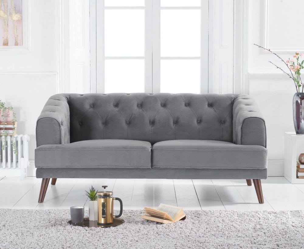Mark Harris Destiny Grey Velvet 2 Seater Sofa
