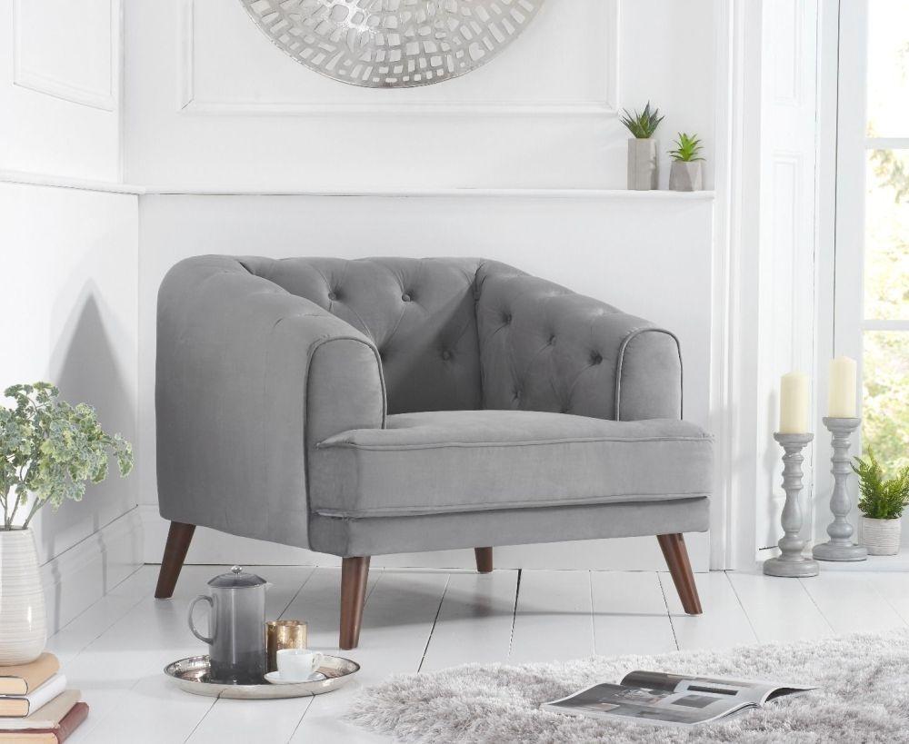 Mark Harris Destiny Grey Velvet Armchair