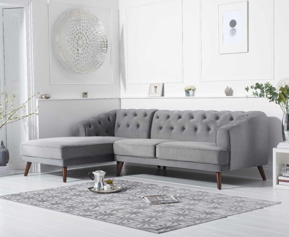 Mark Harris Destiny Grey Velvet Left Hand Facing Corner Sofa