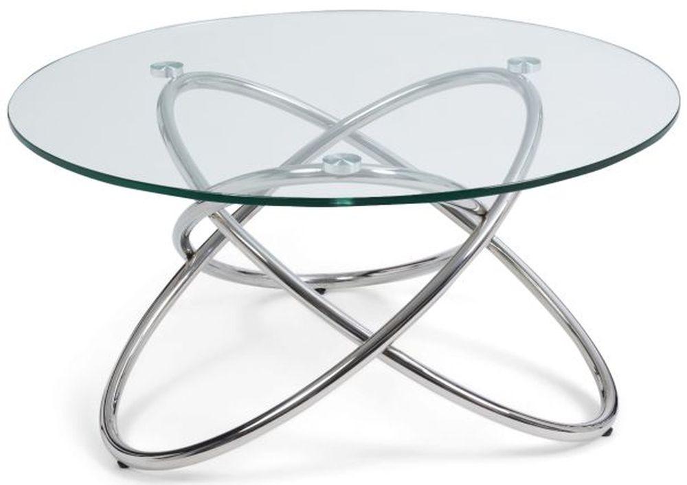 Mark Harris Dina Round Coffee Table - Glass and Chrome