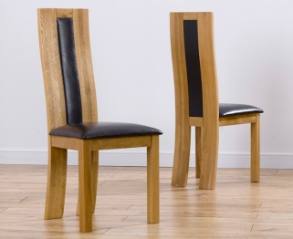 Mark Harris Havana Oak Dining Chair - Black Bycast Leather Seat (Pair)