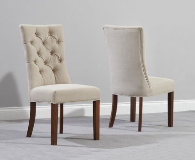 Mark Harris Albury Solid Dark Oak Dining Chair - Beige Fabric (Pair)
