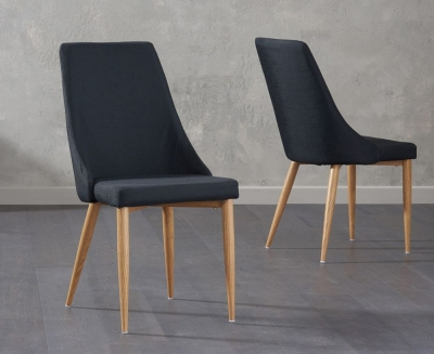 Mark Harris Alma Black Fabric Dining Chair (Pair)