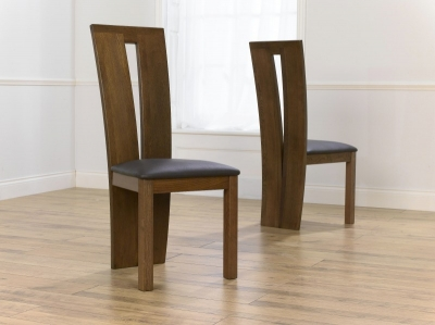 Mark Harris Arizona Solid Dark Oak Dining Chair   Brown Bycast Leather Seat  (Pair)