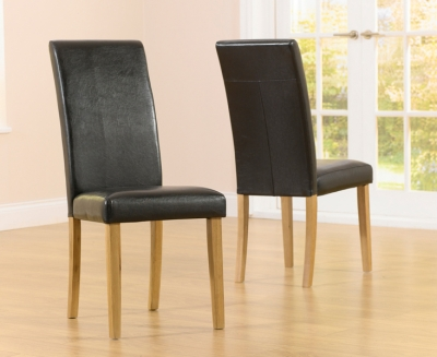 Mark Harris Atlanta Black Faux Leather Dining Chair (Pair)