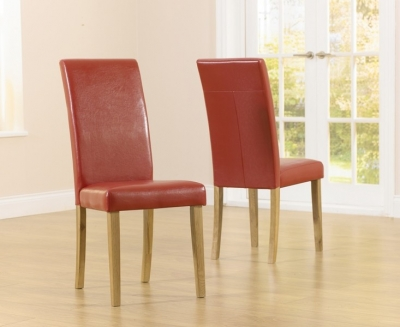 Mark Harris Atlanta Red Faux Leather Dining Chair (Pair)