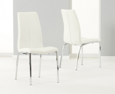 Mark Harris Carsen Cream Faux Leather Dining Chair (Pair)