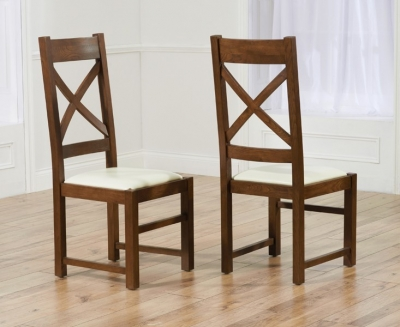 Mark Harris Centerbury Solid Dark Oak Dining Chair - Cream Bycast Leather Seat (Pair)