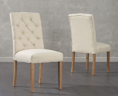 Mark Harris Clarissa Beige Fabric Dining Chair (Pair)