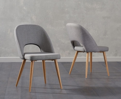 Mark Harris Halle Grey Fabric Dining Chair (Pair)