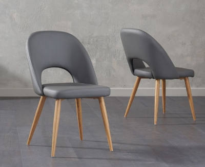 Mark Harris Halle Grey Faux Leather Dining Chair (Pair)
