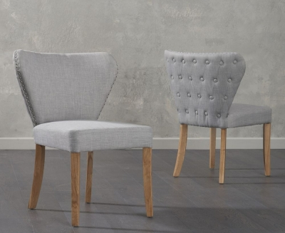 Mark Harris Isabella Grey Fabric Dining Chair (Pair)