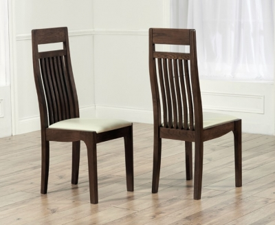 Mark Harris Monte Carlo Solid Dark Oak Dining Chair - Cream Leather Seat (Pair)