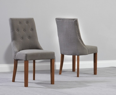 Mark Harris Pailin Solid Dark Oak Dining Chair - Grey Fabric (Pair)