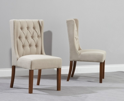 Mark Harris Stefini Solid Dark Oak Dining Chair - Beige Fabric (Pair)