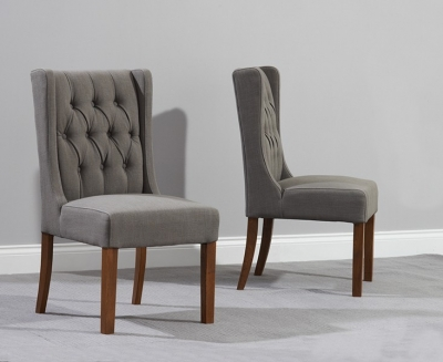 Mark Harris Stefini Solid Dark Oak Dining Chair - Grey Fabric (Pair)