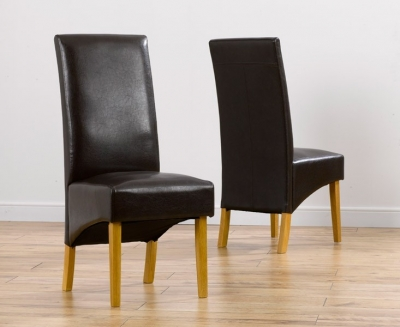 Mark Harris Venice Dining Chair - Brown Faux Leather (Pair)