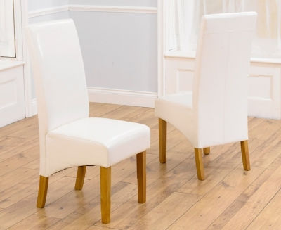 Mark Harris Venice Dining Chair - Ivory Faux Leather (Pair)