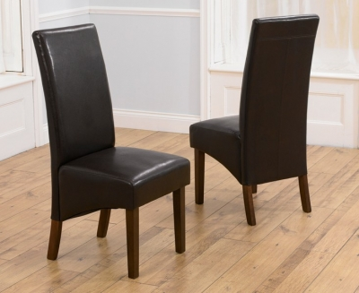Mark Harris WNG Walnut Dining Chair - Brown Faux Leather (Pair)