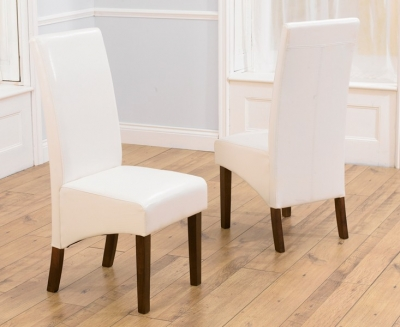 Mark Harris WNG Walnut Dining Chair - Ivory Faux Leather (Pair)