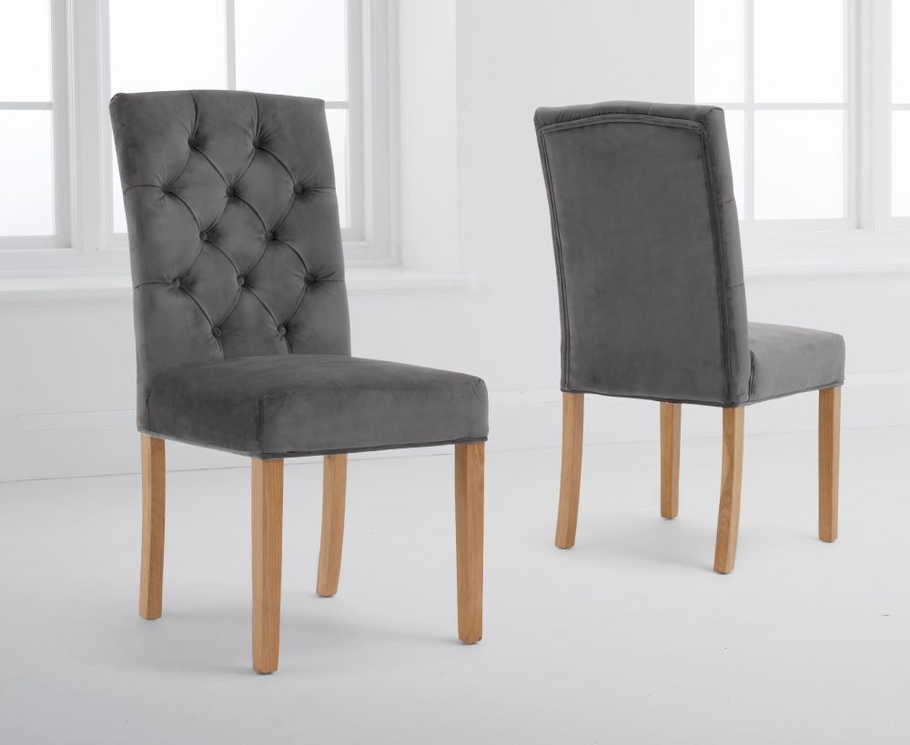 Mark Harris Clarissa Grey Velvet Dining Chair (Pair)