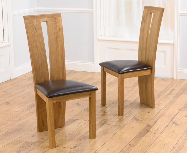 Mark Harris Arizona Oak Dining Chair - Black Bycast Leather Seat (Pair)