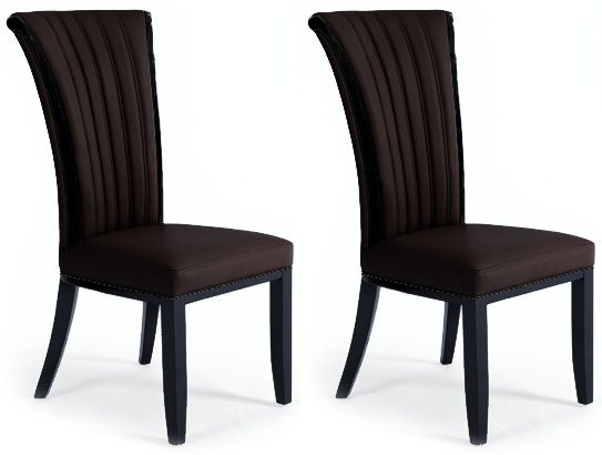 Mark Harris Almeria Brown Bonded Leather Dining Chair (Pair)