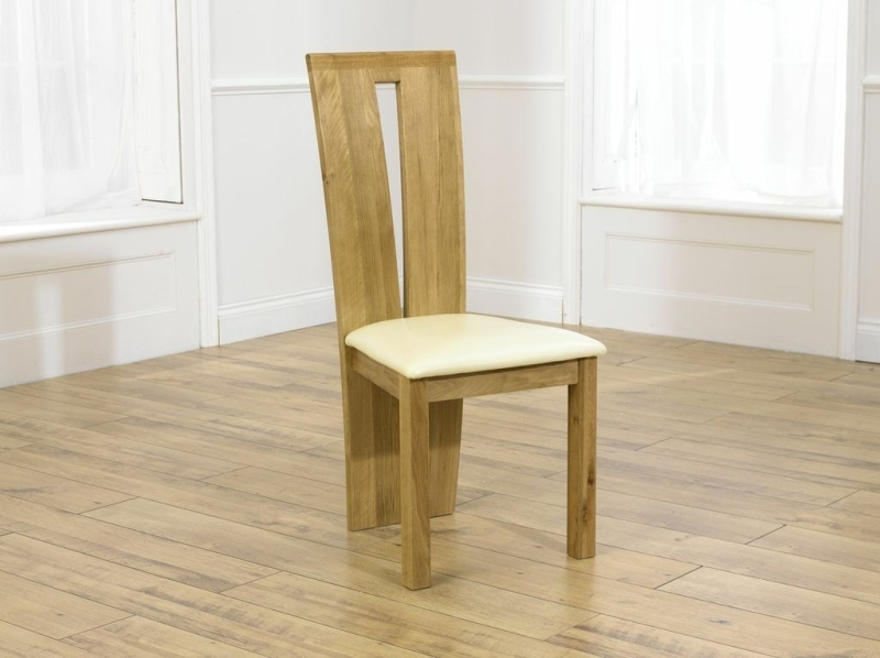 Mark Harris Arizona Oak Dining Chair - Cream Bycast Leather Seat (Pair)