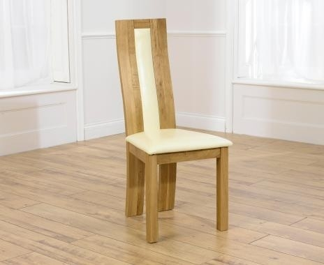 Mark Harris Havana Oak Dining Chair - Cream Bycast Leather Seat (Pair)