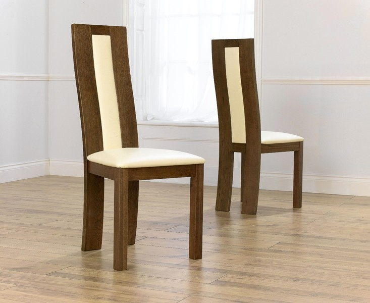 Mark Harris Havana Solid Dark Oak Dining Chair - Cream Bycast Leather Seat (Pair)