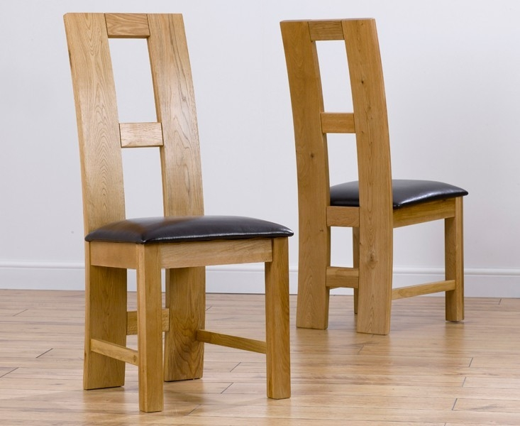 Mark Harris John Louis Oak Dining Chair - Brown Bycast Leather Seat (Pair)
