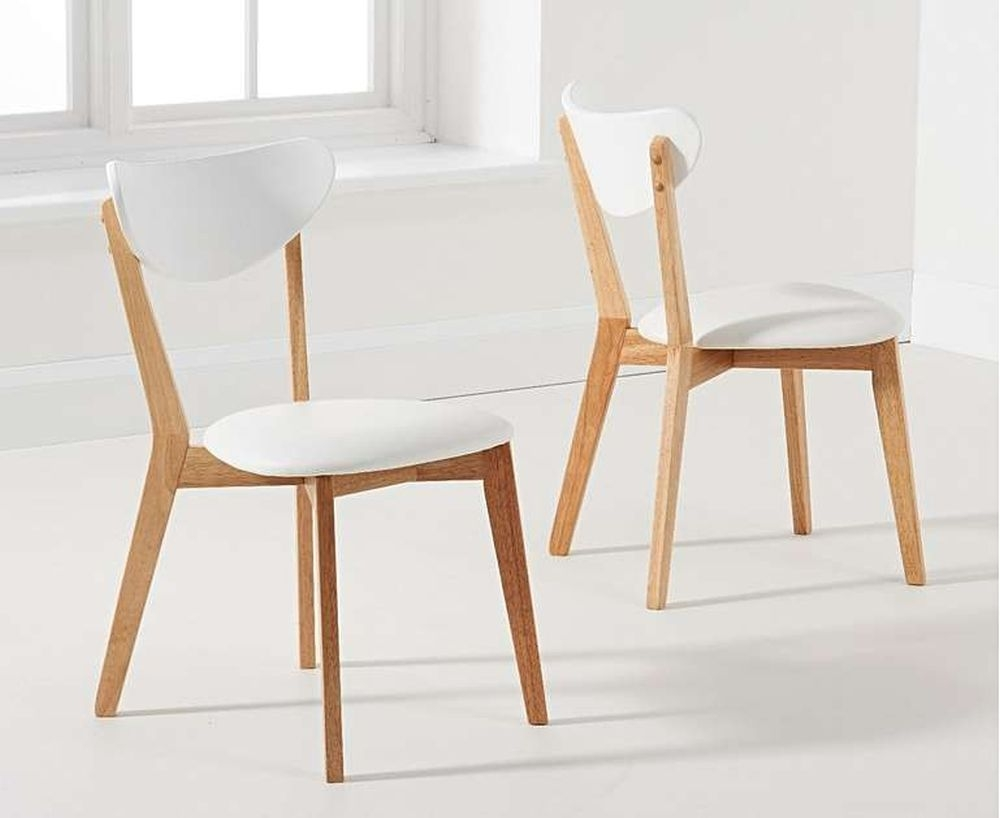 Mark Harris Marcham Dining Chair (Pair) - White and Oak