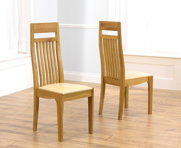 Mark Harris Monte Carlo Oak Dining Chair - Cream Leather Seat (Pair)