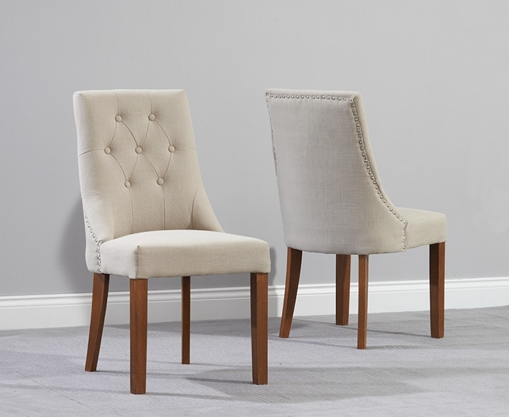 Mark Harris Pailin Solid Dark Oak Dining Chair - Beige Fabric (Pair)
