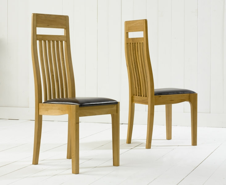 Mark Harris Monte Carlo Oak Dining Chair - Brown Leather Seat (Pair)