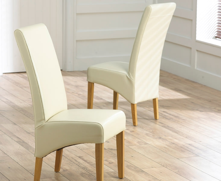 Mark Harris Roma Oak Dining Chair - Cream Bycast Leather (Pair)