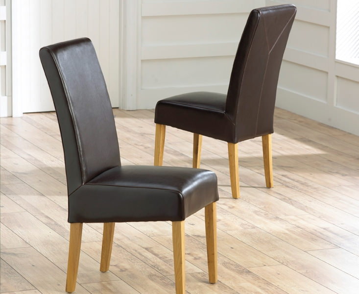 Mark Harris Rustique Oak Dining Chair - Brown Bycast Leather (Pair)